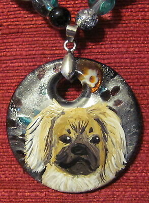 Tibetan Spaniel hand painted on round Murano glass pendant/bead/necklace/earring