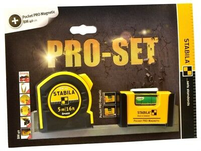 Stabila 5m / 16ft Pocket Tape & Pocket Pro Magnetic Level Pack Set STBPROSET