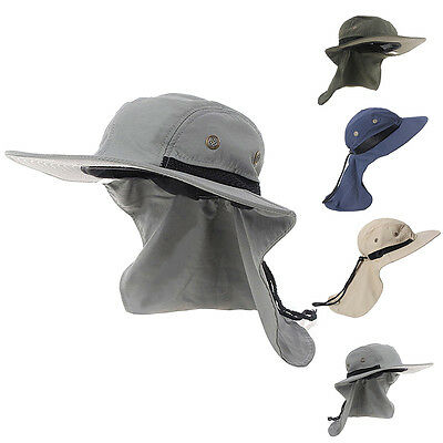 Fishing Outdoor Hiking Boonie Hunting Snap Hat Brim Ear Neck Cover Sun Flap Cap
