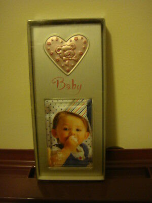 baby girls photo  frame ~ pink heart &  teddy bear - new boxed - 15 x 6 cms