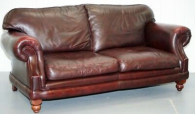 1 Of 2 Thomas Lloyd Consort Rrp £1469 Oxblood Leather Three Seater Sfoas
