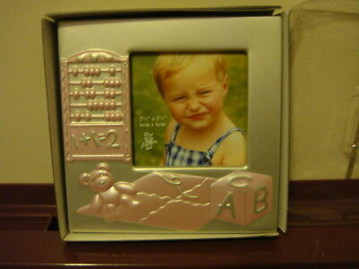 baby girls photo  frame ~ pink ~ teddy bear & toys - new boxed - 11 x 11 cms