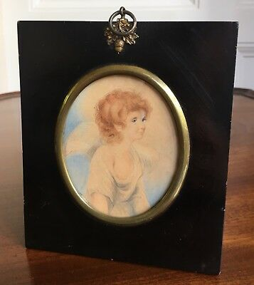 Early Victorian Painted Portrait Miniature Of A Young Boy Angel, Inscribed 1839.