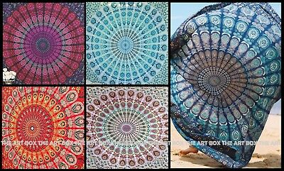 Wall Hanging Cotton Mandala Twin Size Bedcover Ethnic Indian Handmade Tapestry