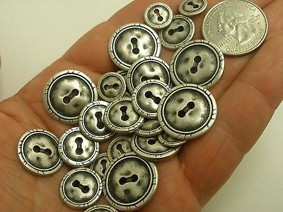 New Lot of Antique Silver Hammered Metal Buttons 7/16 5/8 11/16 13/16  (#S15)