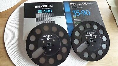 2 SONY R-7MB Tonbandspulen in Top-Zustand mit MAXELL-Band,rares Design!