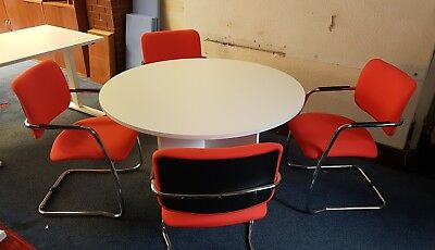 1200 Round Meeting Table And 4 Meeting Chairs