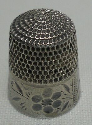 Vintage Sterling Silver Thimble Antique By Stern Bros # 8 Floral Pattern