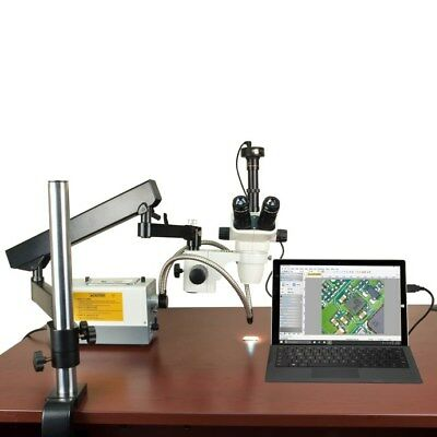 Zoom 2X-270X Stereo Microscope+Articulated Stand+Cold Light+Aux Lenses+9M Camera