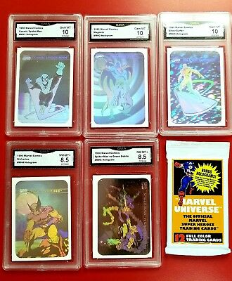 1990 Marvel Impel Hologram Graded Set With Unopened Pack MH 1-5 Mint