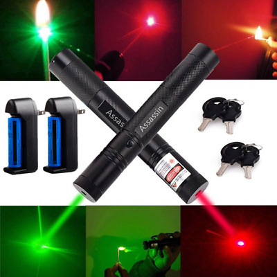 2 x Red+Green Laser Pointer Pen 30Miles 532/650nm Visible Light+Battery+Charger