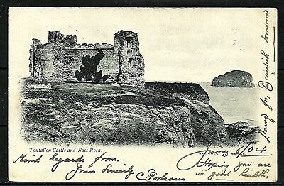 Postcard : Tantallon Castle and the Bass Rock undivided back posted 1904