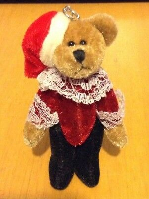 """adorable Stuffed Teddy Bear In Santa Hat Christmas Ornament"""