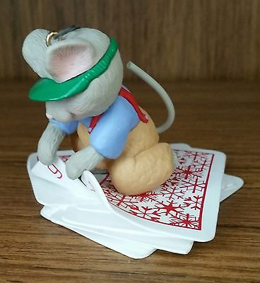 "1997 ""WHAT A DEAL"" Hallmark Keepsake Ornament by Sharon Pike / Mouse with cards"