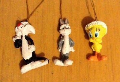 "Lot of 3 ""MINIATURE SYLVESTER/TWEETY BIRD/BUGS BUNNY CHRISTMAS ORNAMENTS"""