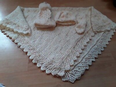 knitted babys mittens 2 hats and blanket