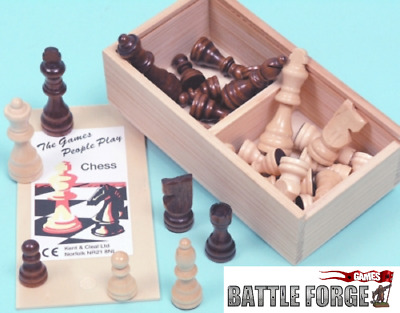 Wood Chessmen - Staunton Pattern - 75mm and 65mm King size