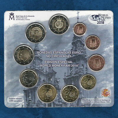 Spanien - World Money Fair WMF - KMS 2018 BU - 7,88 Euro - 1 Cent - 3 X 2 Euro