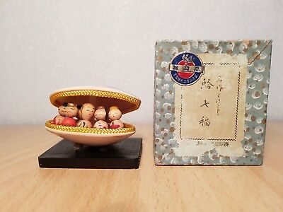 Vintage Japan Made Mini 7 Lucky God figures in Seashell (approx. 5cm)