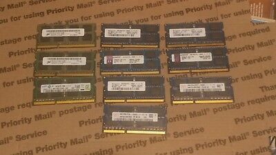 Lot of 40GB (10 x 4GB) PC3-12800S DDR3 SODIMM Laptop Memory RAM Various Brands