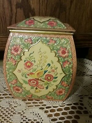 Vintage  Metal Tin Embossed Flowers Birds Made In Holland EMPTY Prisine