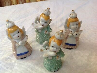4 made in Japan snow baby angels Christmas figures new old stock