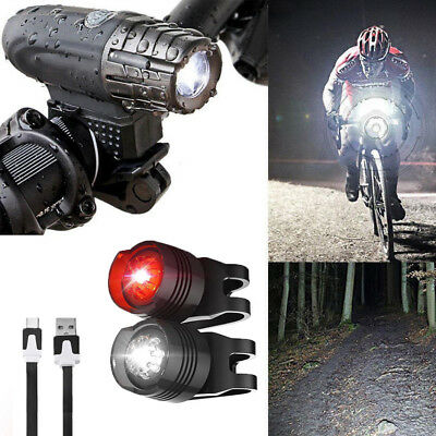Bright LED Bicycle Bike Front Headlight USB Rechargeable Rear Tail Light Set UK