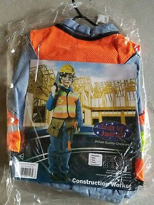 N Child Dress Up America Construction Worker Halloween Costume Size S