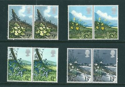 1979 - GB British Flowers Commemorative Stamps Set of 4 in Pairs SG1079/82 MNH