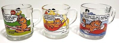 Vintage 1978 McDonald's Garfield and Odie Glass Mugs Lot of 3 Anchor Hocking EUC