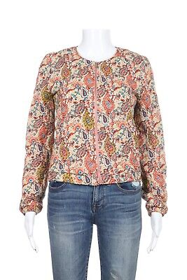 fa526c6c1 ZARA TRAFALUC BLAZER Top Small Pink Green Floral Print Quilted Zip Jacket  Bomber