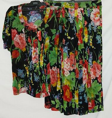 Vintage M&S Boho Floral Rainbow Skirt & Top Summer Two Piece Size 10 / 12