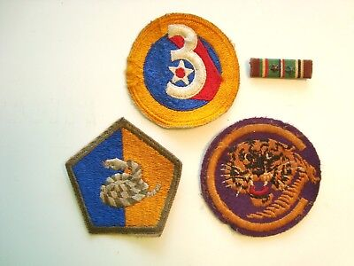 3 Vintage US Military World War 2 Patches Lot 3rd Army AF  & Euro African ribbon