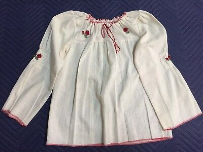 Vintage 1970s Womens Small White Cotton with Red Embroidery Peasant Top-Made USA