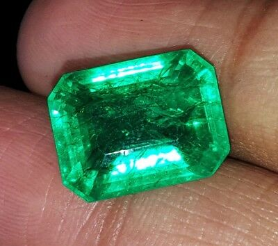 Amazing Natural 8.22 Ct Certified Emerald Shape Colombian Emerald Gemstone