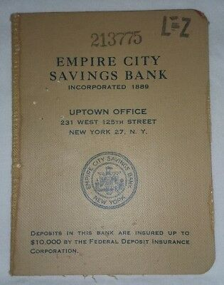 Vintage 1955-1956 Empire City Savings Bank New York 27, NY Deposit Book