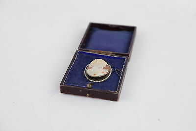 .925 Sterling SIlver ANTIQUE CAMEO BROOCH Classical Lady w/ Seed Pearl Border 8g