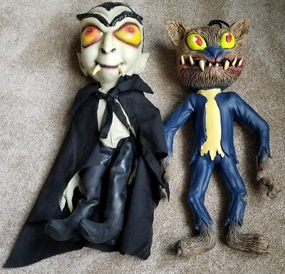 Paper Magic Group Hanging Rubber Halloween Decorations, Warewolf & Dracula RARE