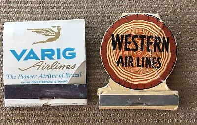 Matchbook Cover - Western Airlines And Varig Airlines