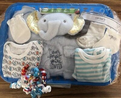BABY BOY GIFT BASKET - Elephants - All New Items