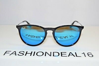 f60ea73044f21 NEW RAY-BAN ERIKA Shiny Black Mirrored RB4171 601 55 54mm Sunglasses ...