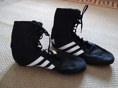 Adidas Box Hog 2 Boxing Boots Mens Black Sports Shoes Trainers size UK 11