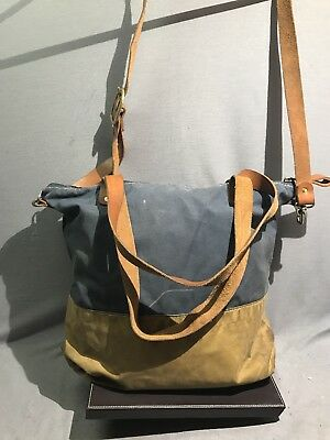 VINTAGE Forest  Canvas Leather straps scout bag shoulder