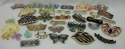 Huge Lot of 34 Vintage Large Hair Barrettes Clips Accessories