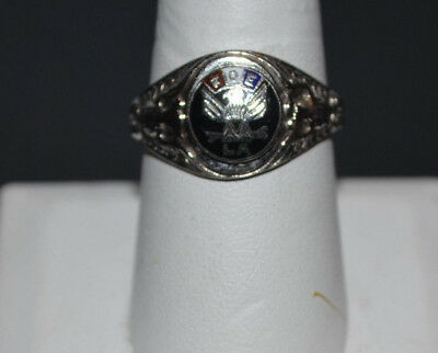 Armed Forces Ring; Fraternal Order Eagles L.a. Sterling Silver, Size 7