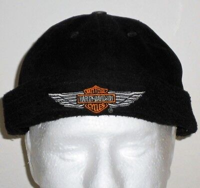 Harley Davidson Motor Cycles Black Skull Cap Authentic Shield Wings Embroidered