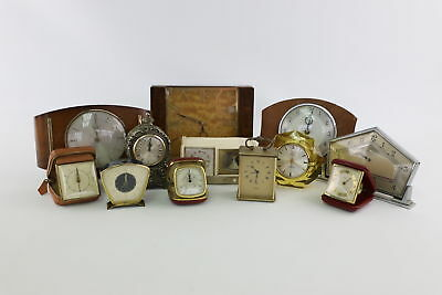 12 x Vintage Hand-Wind Mantel/Alarm & Travel Clocks Hand-Wind Spares&Repairs