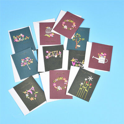 12 Pcslot Handmade Happy Birthday Greeting Cards Wooden Style