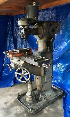 Vintage Bridgeport Milling Machine Head with Vertical Cochrane Bly Stand