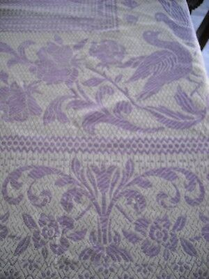 Italian Woven Banquet Tablecloth - 82 x 64 Spring Birds & Flowers -Lilac/White